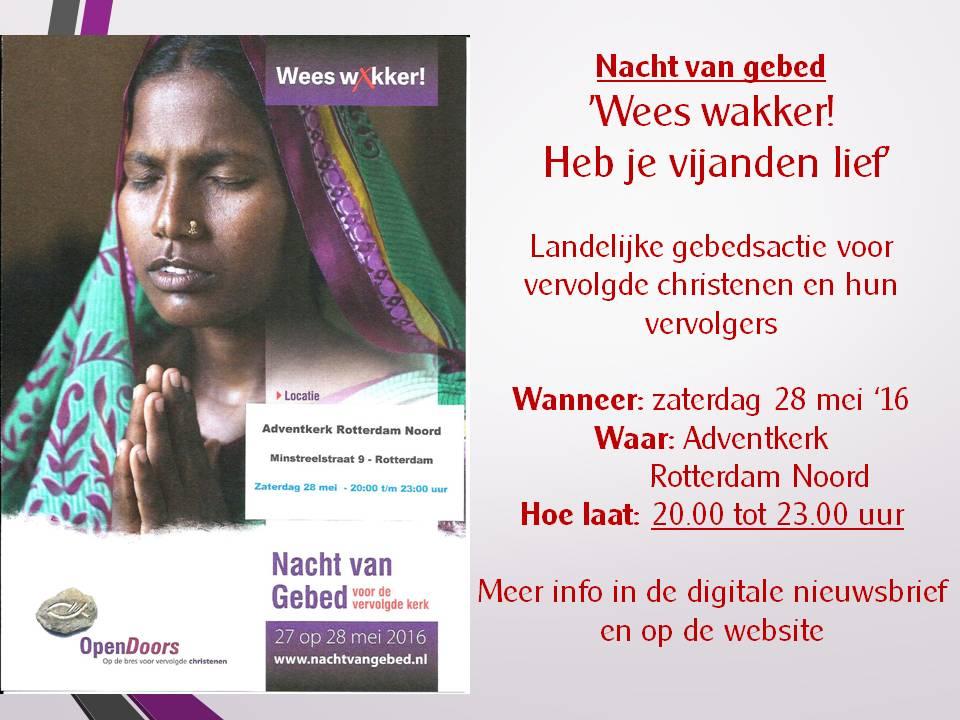 Zaterdag 28 mei Nacht van gebed Rotterdam Noord